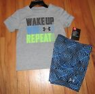 Under Armour Baby Boys Wake up Win Repet Gray Shirt Blue Shorts Set 18M NWT