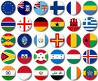 """WORLD FLAGS Various 25mm, 1"""" inch Button Badge E to I"""