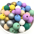 50Pcs Painted Round Loose Wood Bead Natural Wooden Beads DIY Baby Jewelry Making
