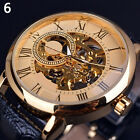 IM- Men 3D Hollow Engraving Case Roman Numbers Skeleton Dial Mechanical Watch Ex