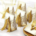 IM-  50pcs Candy Boxes With Ribbon Wedding Party Favor Gift Box Silver Gold  Lit