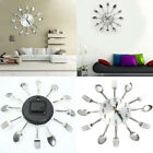 EP_ Stainless Steel Knife Fork Spoons Wall Clock Analog Home Office Decor Clever