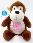 Personalised Baby Teddy Bear Gift,Embroidered Monkey, Christening New Baby