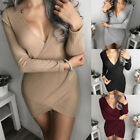 Women Knitting Bodycon V-neck Dress Long Sleeve Clubwear Evening Party Dresses