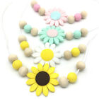 Silicone Sunflower Beads Teething Necklace Baby Chewable Teether Sensory Jewelry