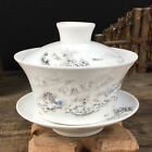 Chinese porcelain gaiwan tea brewer covered bowl for Green tea lid cup saucer