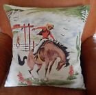 "Western Barkcloth Pillow Cover ""Rodeo"" 50's Cowboy Bronco Up. Faux Suede/Canvas"