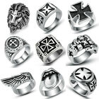 316L Stainless Steel Fashion Silver Men's Punk Cross Rings Jewelry Mixed Themes