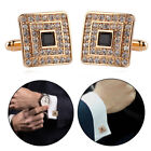 Gold Silver Gem Crystal Shirt Cufflinks Groom Mens Womens Cuff Links Gift 1Pair