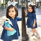 Cute Toddler Kids Baby Girls Toddler Denim Jeans Casual Party Tutu Dress Clothes