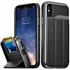 Wallet Card Slot Flip Leather Protective Case Cover For IPhoneX Space Gray Black