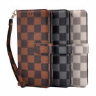 Classic Grid Pattern Leather Wallet Flip Case Cover For Samsung Galaxy Note 8 S8