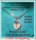 Religious Jewelry Girl Lady Mustard Seed Necklace Heart of Faith Valentine Gift