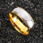 8mm Dome 18K Gold Polished Silver Mens Tungsten Ring Wedding Band Bridal Jewelry