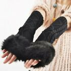Red Gloves Warm Winter Finger Hand Less Long Women Stretchable For