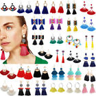Fashion Bohemian Jewelry Elegant Crystal Tassel Earrings Long Drop Dangle Women image