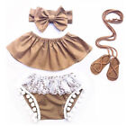 US Infant Toddler Baby Girl Clothes Romper Bodysuit+Headband Sunsuit 3pcs Outfit