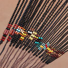 1 X Hand Made Black Stone Beads Knotted Silk Cord String Necklace Pendant Making