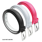 Womens Skinny Leather Belt Bundle with Silver Polished Square Belt Buckle 3 Pack