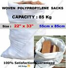 WHITE WOVEN HEAVY DUTY RUBBLE BAGS/SACKS ** Capacity - 80Kg **** Size : 55 x 85