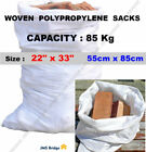 WHITE WOVEN HEAVY DUTY RUBBLE BAGS/SACKS ** Capacity - 85Kg **** Size : 55 x 85