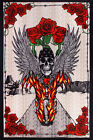 3D TAPESTRY-FIRE BIKER-SKULL-ROSES-WINGS-Psychedelic-FREE GLASSES 60X90