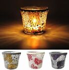 "Mosaic Stained Glass Candle Holder 3.0"" + Unscented Tealight Candles 10pcs"