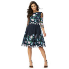 Chi Chi London Navy Floral Embroidered  Clare  Knee 16  22 Navy/Multi