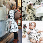 UK Toddler Kids Baby Girls Animal Half Sleeve Dinosaur Dress Outfits Clothes
