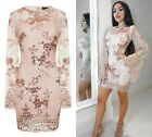 NUDE & ROSE GOLD BATWING FLORAL SEQUIN KAFTAN MIDI PARTY HOLIDAY DRESS 6-14