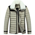 Men's down faux fur collar Jacket Slim Coat Casual Outwear Quilted Short T08