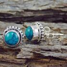 Vintage 925 Sterling Silver Turquoise Earrings Ear Stud Dangle Mother's Jewelry