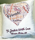 Personalised Best Friends Word Art Cushion Scatter Cushion, Add your Own Message