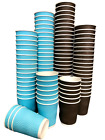Coffee Tea Party PAPER CUPS RIPPLE WALL BLACK Hot Cold Drinks Sip LIDS 1000x 8oz