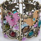 Stunning Pinks cuff bracelet bangle with flowers or butterfly pinks lilacs