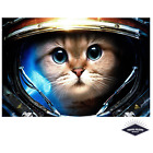 Funny Theme Cute Cat Space Poster Quality Print on 260gsm Premium Poster Paper