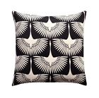 Flock Midnight Black Outdoor Decorative Pillow, Black and Ivory Patio Pillow