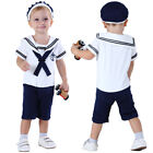 Baby Boy Sailor Costume Romper Newborn Jumpsuit Infant Navy Playsuit Outfit Set