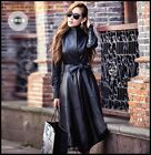 Fashion Trendy Womens Belt Genuine Leather Stand Collar Long Coats Black Jackets