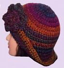 HAND CROCHET FESTIVAL LADIES CLOCHE HAT 1920 knit floppy brim 27 matching gloves