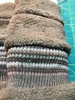 NEW Soft Fleece Lined Knit Brown Stripe Boot Toppers Cuffs. FREE SHIP