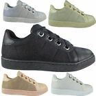Ladies Running Trainers Womens Flat Sneakers Comfy Glitter Lace Up Shoes Size