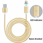 US Braided Magnetic Lightning USB Charger Charging Cable Cord All iPhone Android