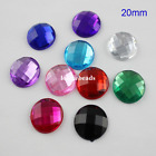 20MM Acrylic Diamond Round Flat Back Loose Rhinestone Square Facets DIY Craft