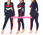 Women Casual Long Sleeve Front Zipper Hooded Body con Patchwork Jumpsuit  #J1