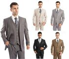 Mens Three Piece Vested Suit Modern Fit Two Button Formal Solid Dress Suits Set
