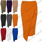 Womens Front Pocket Asymmetric Wrap Over Bodycon Pencil Fit Wiggle Skirts