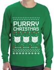 Purrry Christmas Ugly Sweater - Cute Cat Lover Xmas Party Long Sleeve T-Shirt