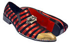 Fiesso Black / Red Suede Slip-On Shoes With Rhinestone Brooch / Silver Metal Toe
