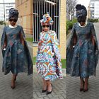 Towani African Print Ankara African Prom Midi Flare Cape Dress Size 12-18UK